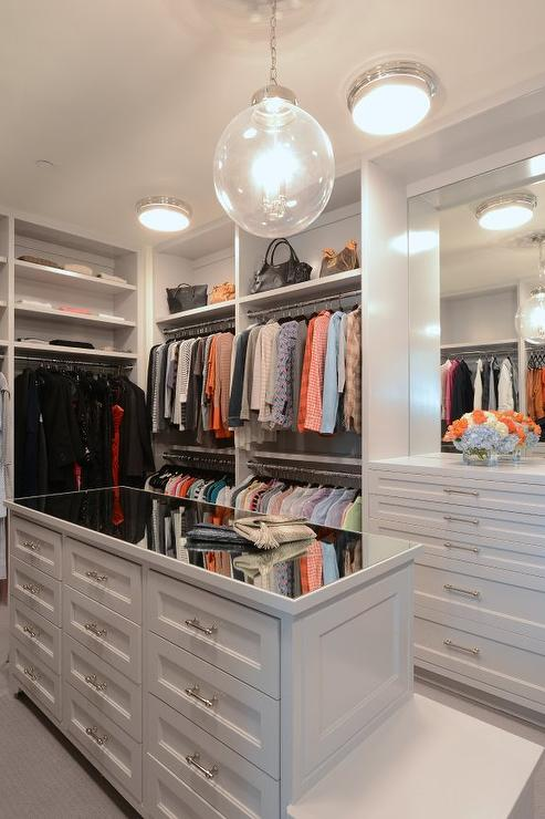 Mirrored Top Closet Island with Bench  Transitional  Closet