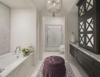 Black and White Bathroom with Purple Accents ...
