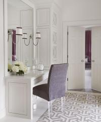 Purple Vanity Chair with Lucite Legs on Gray geometric Rug ...