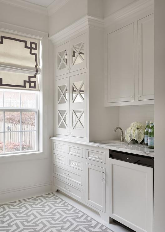 White And Gray Butler Pantry With Mirrored Cabinets
