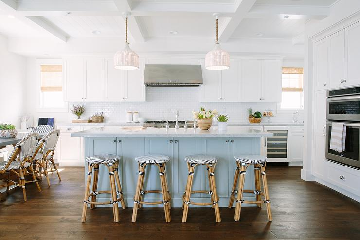 Blue Kitchen Island with Serena and Lily Riviera Backless