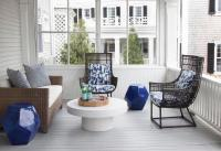 Contemporary Sunroom with Round White Cocktail Table ...