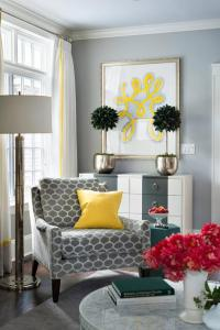 Gray Corner Reading Chair with Canary Yellow Pillow ...