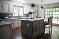 Gray Kitchen Island with Black Rush Seat Bar Stools ...