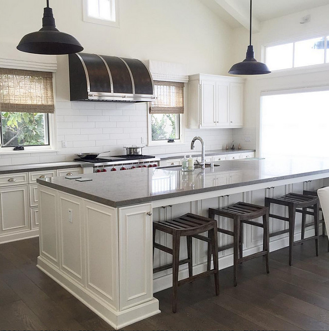 Limestone Countertop For The Home Pinterest. Gray Quartz Top Kitchen Island  With Black Vintage Barn Pendants