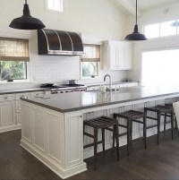 Gray Quartz Top Kitchen Island with Black Vintage Barn ...