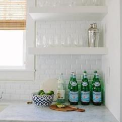 Beveled Subway Tile Kitchen Island Discount Backsplash Design Ideas Wet Bar Sink With Stacked Shelves