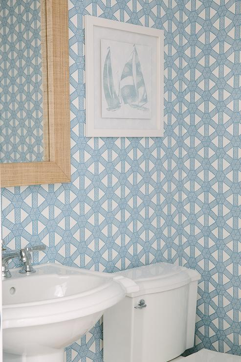 Robins Egg Blue Powder Room Wallpaper with Grasscloth Mirror  Contemporary  Bathroom