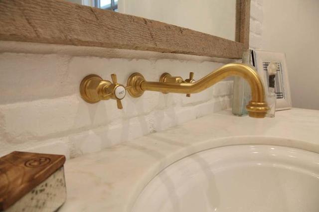 wall mount vintage antique brass gooseneck bathroom sink faucet