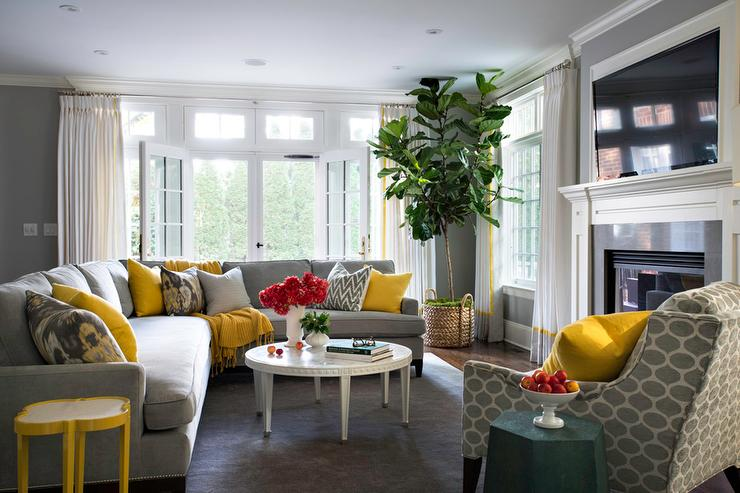 gray sectional with yellow