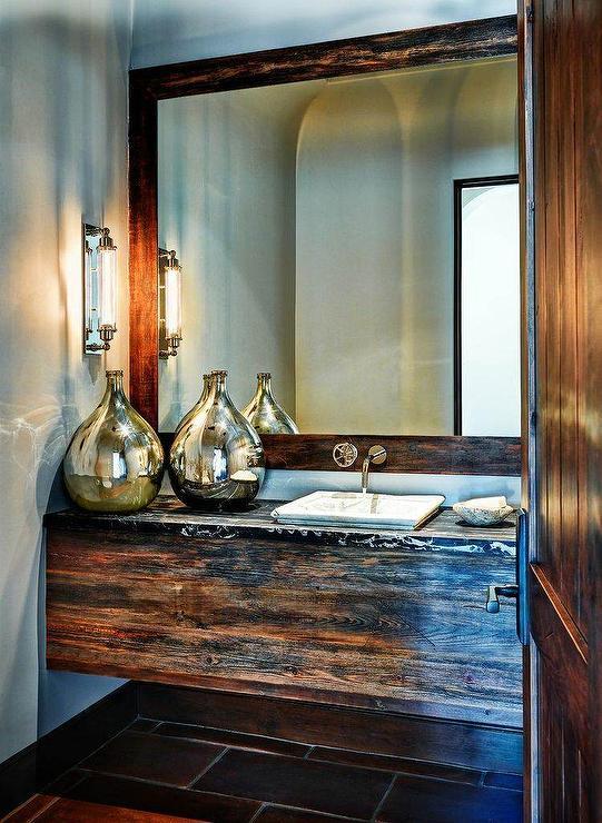 Reclaimed Barn Wood Floating Vanity with Marble Sink