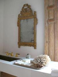 Marble Floating Vanity with Gold Ornate Mirror - French ...