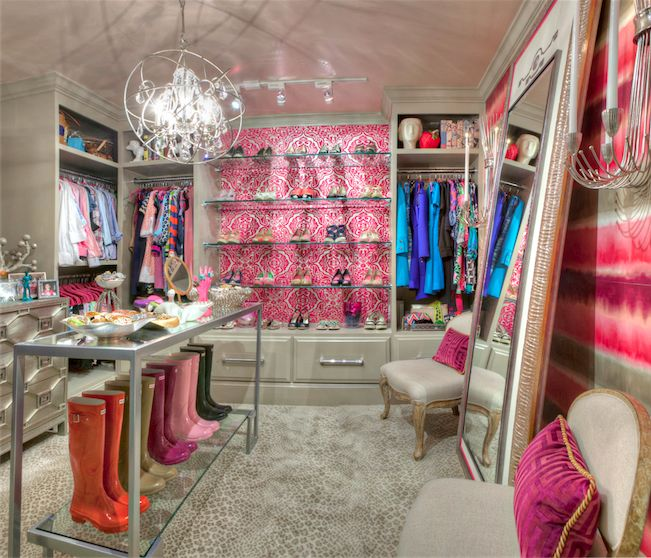 Pink and Gray Closet with Leopard Print Rug  Contemporary