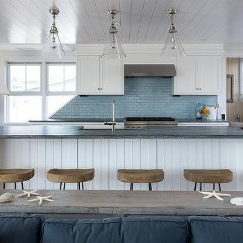 Green Blue Kitchen Island with Gray and White Granite