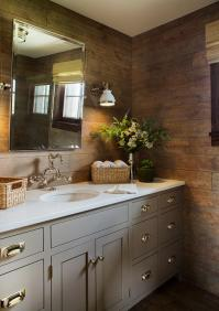 Gray Vanity with Rustic Plank Backsplash - Country - Bathroom