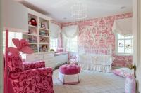 White and Pink Nursery with Pink Toile Wallpaper ...