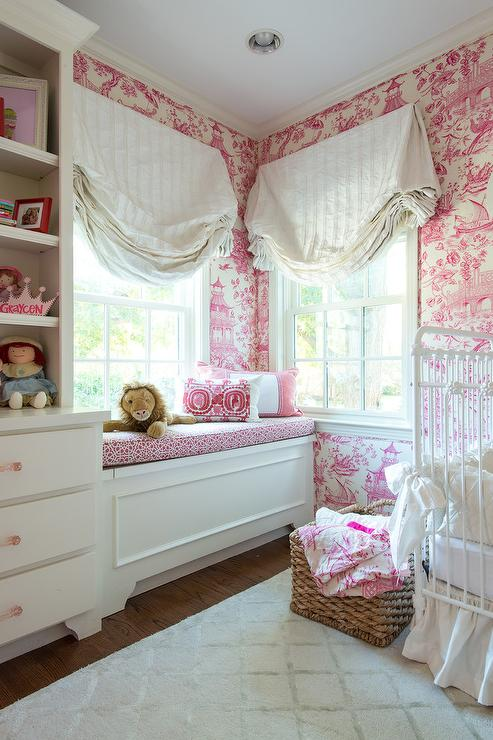 Baby Girl Nursery Pink Wallpaper White And Pink Nursery With Pink Toile Wallpaper