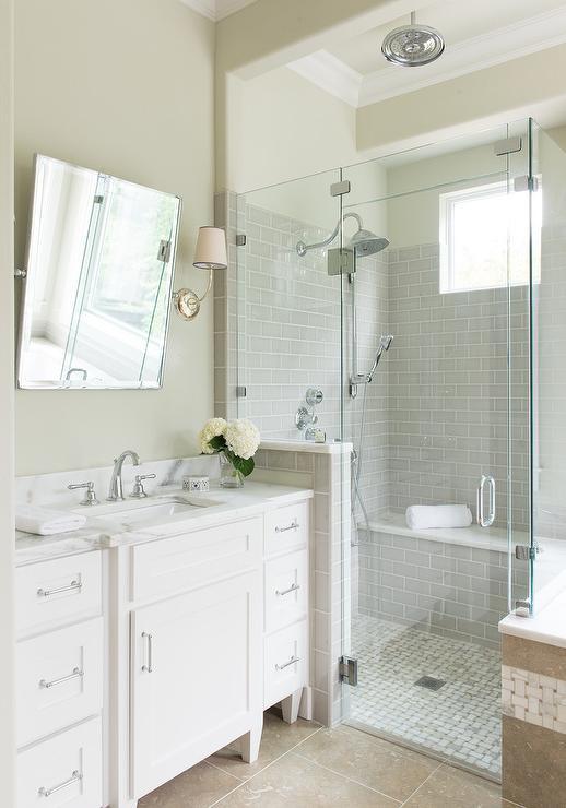 marble basketweave shower floor