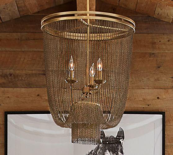 Atherton Antique Brass Chainmail Chandelier