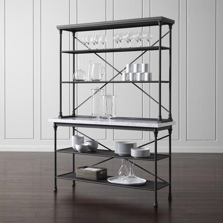 french black kitchen bakers rack with hutch