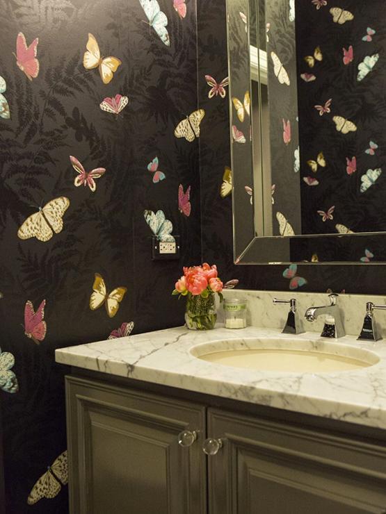 Black Powder Room  Cottage  bathroom  The Fat Hydrangea