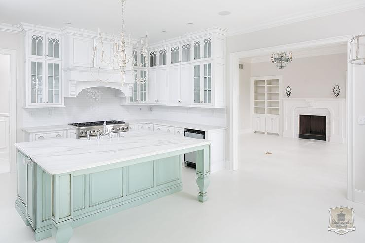 Mint Green Kitchen Island With Turned Legs Transitional