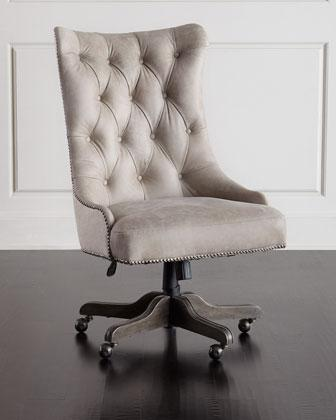 tufted desk chair ikea stool covers hooker furniture matilda beige leather office