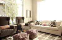White Sofa with Brown Wingback Chairs - Transitional ...