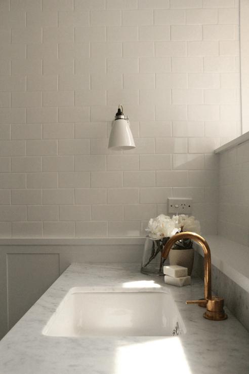 Modern Bathroom with Carrera Marble Herringbone Floor  Modern  Bathroom