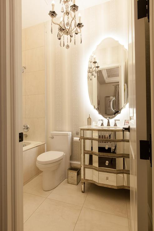 French Bathroom with Mirrored Sink Vanity  French  Bathroom