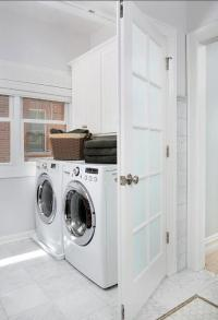 Frosted Glass Laundry Room Door with White Marble Floor ...
