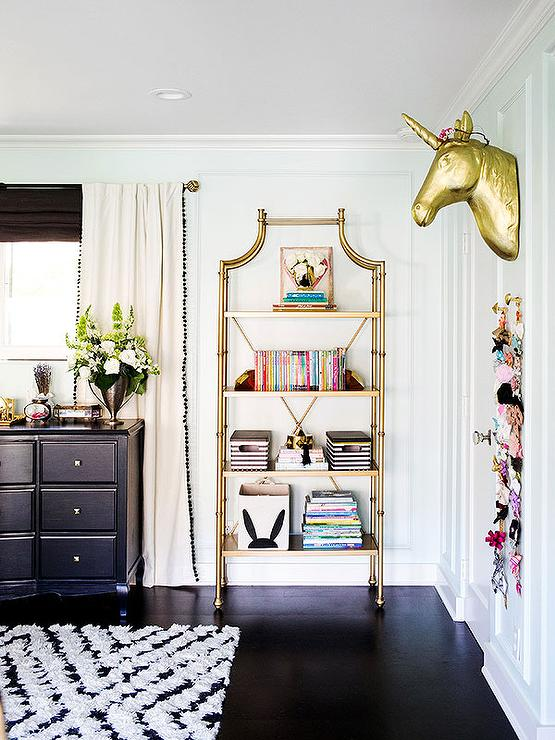 Pinterest Girls Kids Rooms With Wood Wallpaper Kids Room With Gold Etagere And Gold Unicorn Head