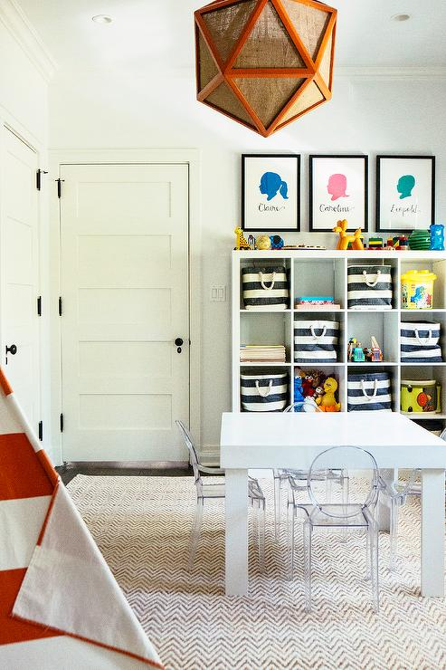 Black and White Attic Playroom with Stripe Teepee