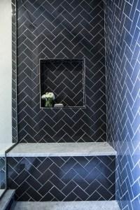 Shower with Navy Subway Herringbone Tiles - Contemporary ...