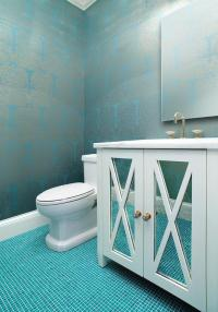 Silver and Turquoise Damask Wallpaper with Ocean Blue Tile ...