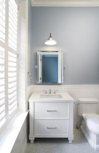 Slate Blue Bathroom Walls with White Subway Tiles ...