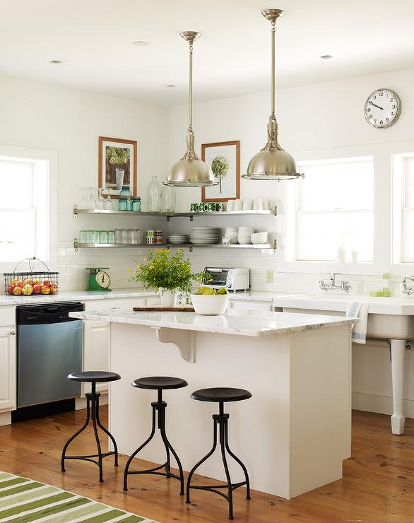 Cottage Kitchen with Freestanding Vintage Sink  Cottage