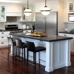 Large White Kitchen Island Dark Floors Black And With Ralph Lauren Mccarren Globe Pendants