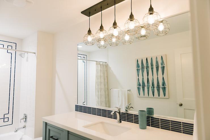 Green Vanity with Black Tiles  Contemporary  Bathroom