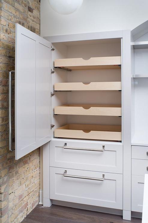 Hidden Pantry with Stacked Pull Out Shelves