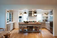 Gray Freestanding Kitchen Island with Shelf and Wood ...