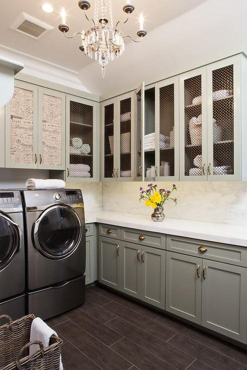 French Laundry Room with Chicken Wire Cabinets  French
