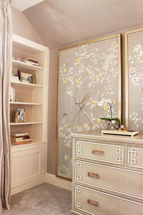 Gray Chinoiserie Bedroom with Greek Key Chest