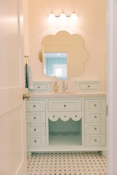 Mint Green Bathroom Vanity with Mint Green Dot Tiles