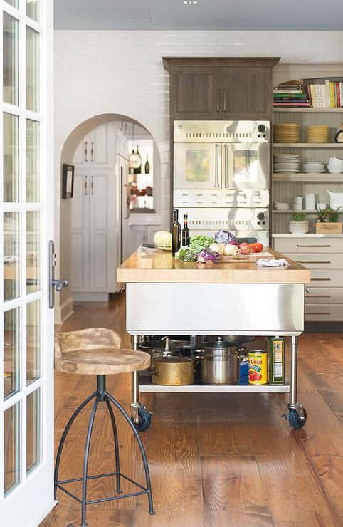 Stainless Steel kitchen Island with Shelf On Wheels