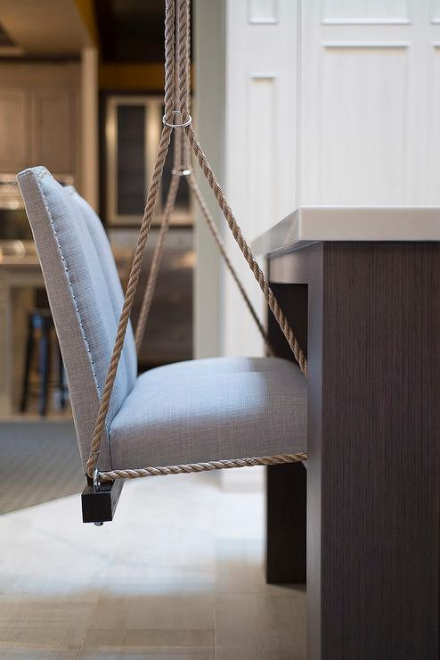 chairs for kitchen island oak islands swinging suspended by rope from the ceiling