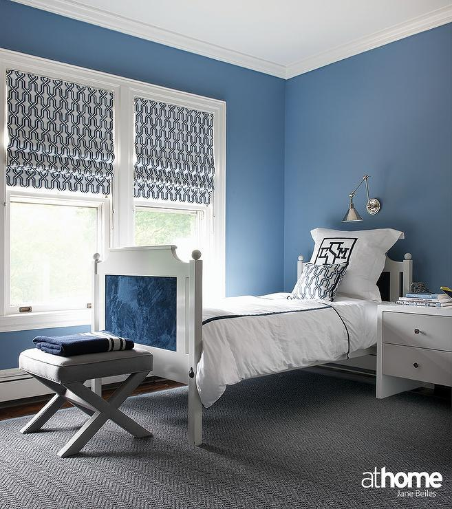 Gray and Blue Boy Bedroom with Monogram Bedding