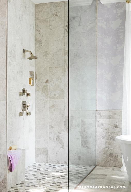 Corner Shower with Mosaic Shower Floor  Contemporary