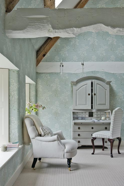 Blue French Country Bedroom with White Wood Ceiling Beams