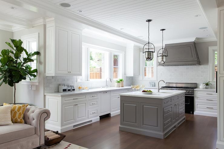 two tone kitchen island white faucets gray hood with transitional